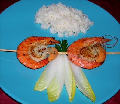Brochettes Gambas / St-Jacques