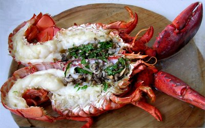 Homard et langoustine la mangue - Accompagnement homard grille ...