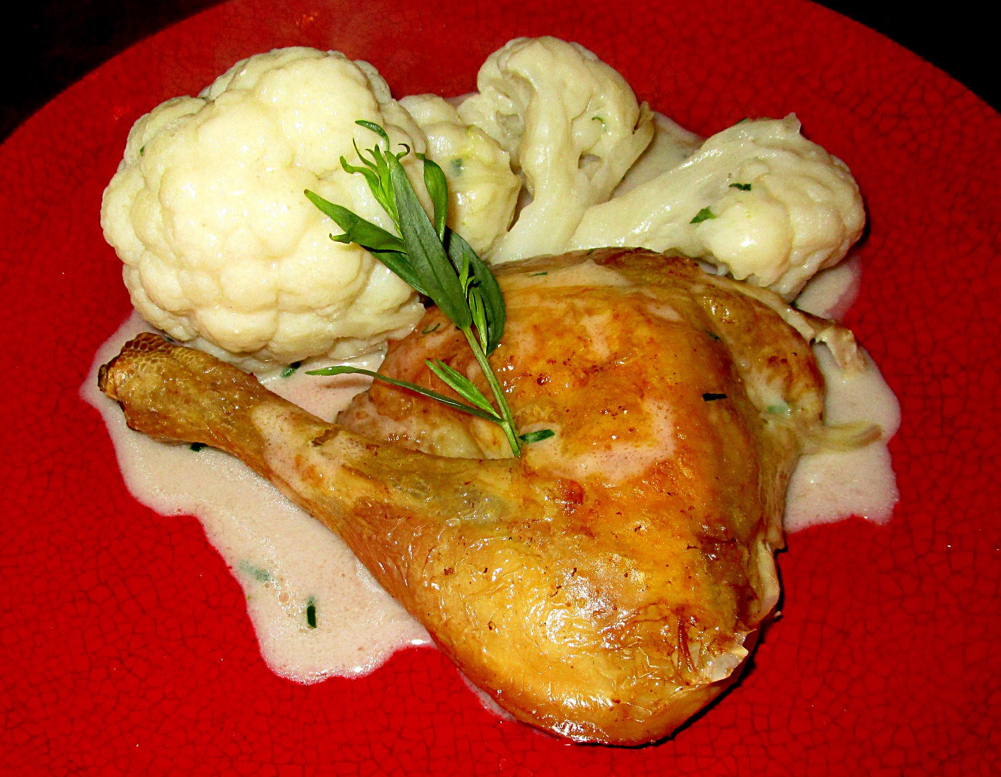 Poulet Roti Et Chou Fleur Bechamel